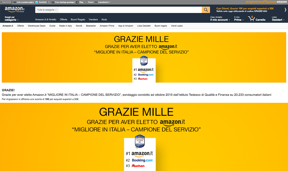 amazon ringrazia l 39 italia con un coupon di 10 euro blog