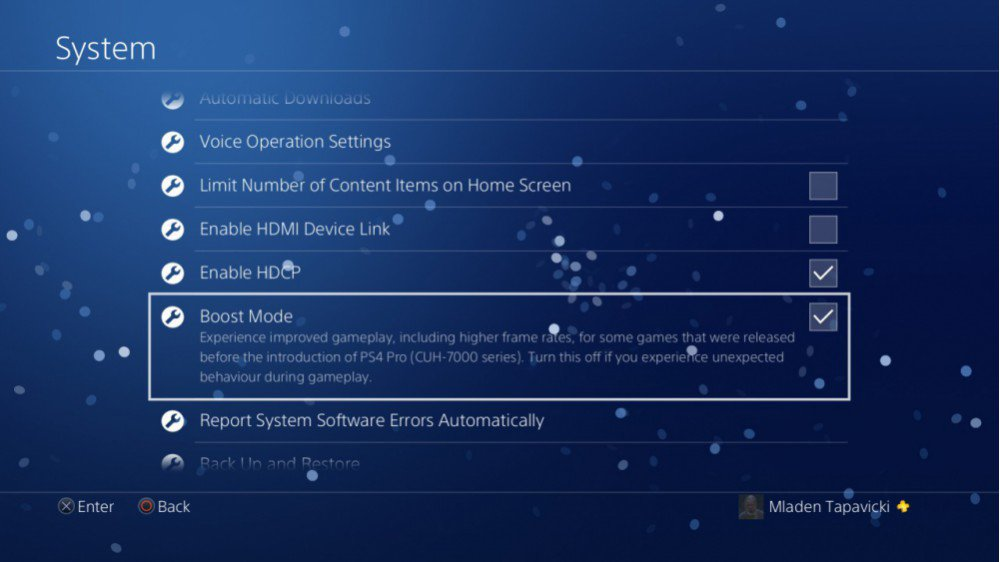 PS4 Pro Boost mode nel Firmware 4.50