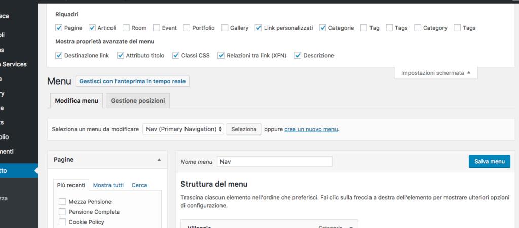 abilitare target new e classi CSS alle voci del menu